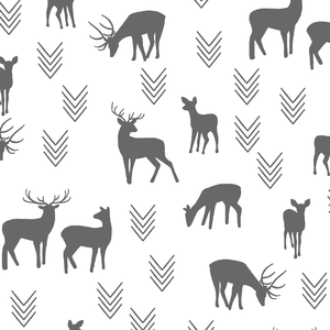 Hawthorne Threads - Deer Silhouette on White - Deer Silhouette on White in Charcoal