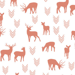 Hawthorne Threads - Deer Silhouette on White - Deer Silhouette on White in Desert Rose