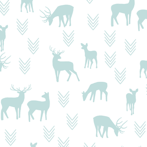 Hawthorne Threads - Deer Silhouette on White - Deer Silhouette on White in Glacier Blue