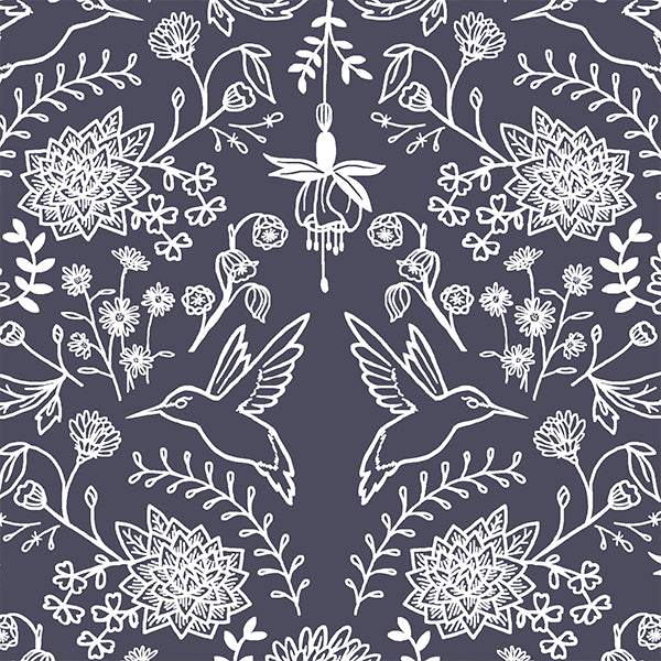 Hummingbird Damask in Ink - Afterpay