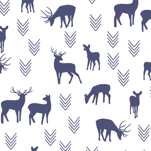 Hawthorne Threads - Deer Silhouette on White - Deer Silhouette on White in Indigo