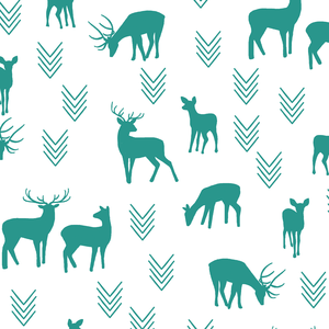 Hawthorne Threads - Deer Silhouette on White - Deer Silhouette on White in Jade