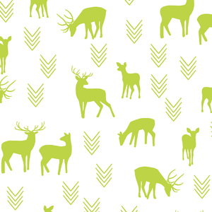 Hawthorne Threads - Deer Silhouette on White - Deer Silhouette on White in Lime