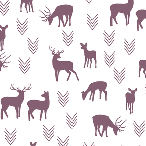 Hawthorne Threads - Deer Silhouette on White - Deer Silhouette on White in Mulberry