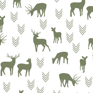 Hawthorne Threads - Deer Silhouette on White - Deer Silhouette on White in Olive