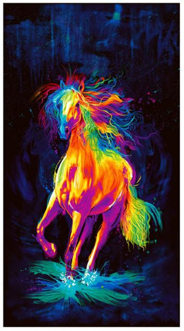 "Painted Horse Digital Print - 24"" Panel Black Fabric"