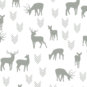 Hawthorne Threads - Deer Silhouette on White - Deer Silhouette on White in Sage