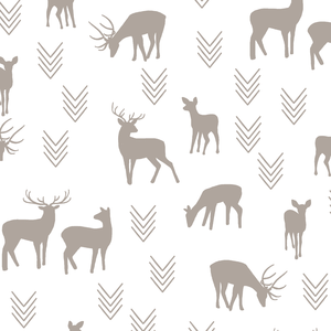Hawthorne Threads - Deer Silhouette on White - Deer Silhouette on White in Taupe