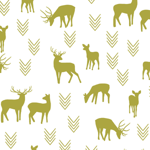 Hawthorne Threads - Deer Silhouette on White - Deer Silhouette on White in Zest
