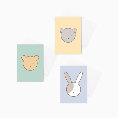 3 pack Animal Baby Greeting Cards – Cat, Bear, Rabbit Gift Cards