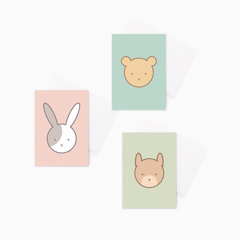 3 pack Animal Baby Greeting Cards – Bear, Rabbit, Squirrel Gift Cards