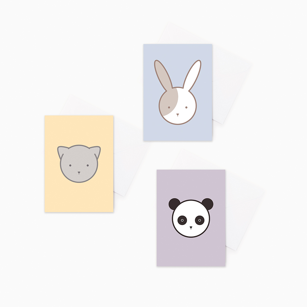 Rabbit cat and panda greeting cards set of 3 by hues fables 3 pack animal baby greeting cards rabbit cat panda gift cards m4hsunfo