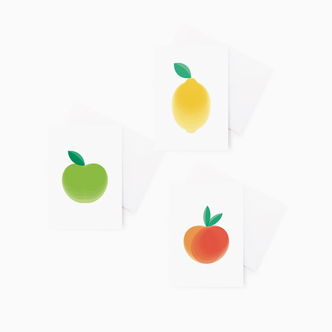 3 pack Fruit Greeting Cards – Lemon, Apple, Peach Gift Cards