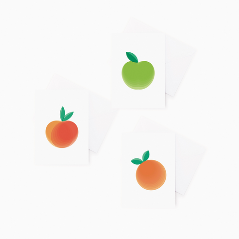 3 pack Fruit Greeting Cards – Apple, Peach, Clementine Gift Cards