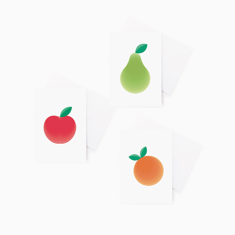 3 pack Fruit Greeting Cards – Pear, Apple, Clementine Gift Cards