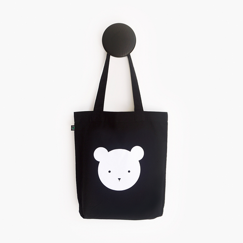 Buddy Bear Black Shoulder Tote Bag – Certified Organic and Fair Trade Tote Bag
