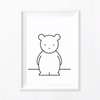 Monochrome Kids' Art Print – Cute Bear Wall Art and Nursery Decor