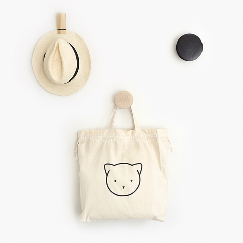 Chloe Cat Drawstring Tote Bag – Natural Calico Storage Bag