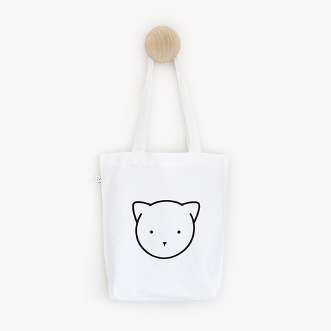 Chloe Cat White Shoulder Tote Bag – Certified Organic and Fair Trade Tote Bag