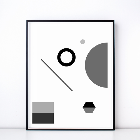Fête No. 1 Geometric Print – Monochrome Wall Art