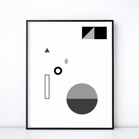 Fête No. 3 Monochrome Print – Geometric Wall Art