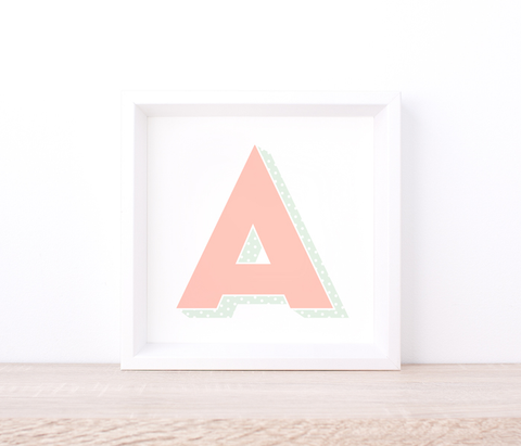 Personalised Pink Letter Art Print – Printed Wall Art