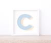 Personalised Blue Letter Art Print – Printed Wall Art