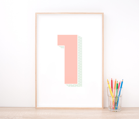 Personalised Pink Number Art Print – Nursery Art