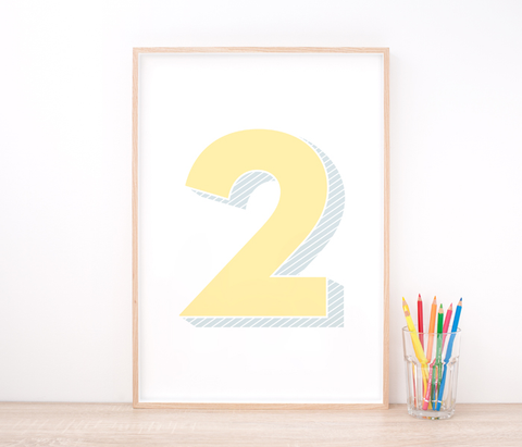 Personalised Yellow Number Art Print – Nursery Art