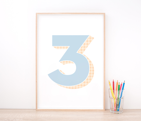 Personalised Blue Number Art Print – Nursery Decor