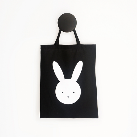 Olivia Rabbit Black Tote Bag – Cotton Calico Short handle Tote Bag