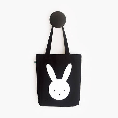 Olivia Rabbit Black Shoulder Tote Bag – Certified Organic and Fair Trade Tote Bag