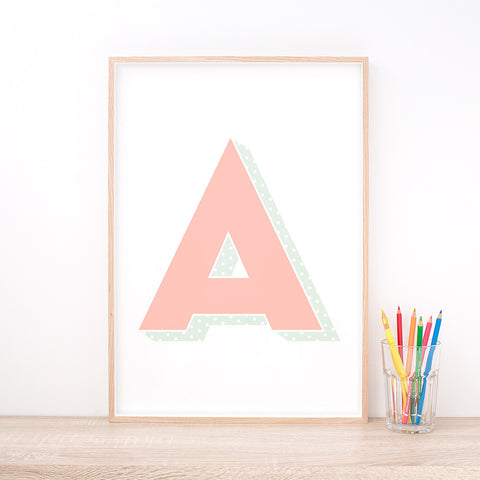 Personalised Pink Letter Art Print – Nursery Wall Art by Hues & Fables