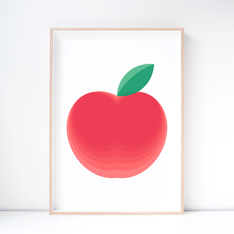 Red Delicious Apple Fruit Art Print – Modern Wall Art by Hues & Fables