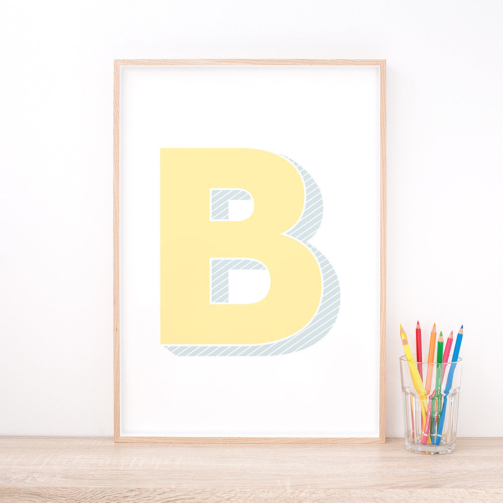 Personalised Yellow Letter Art Print – Nursery Wall Art by Hues & Fables