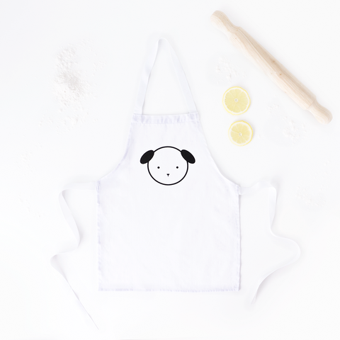 Dash Dog White Kids Apron – Kids Craft and Cooking Apron