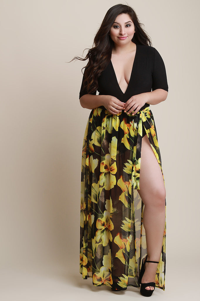 78c3b236e79 Floral Mesh Self-Tie Cover Up Maxi Skirt – Jacob Marxx
