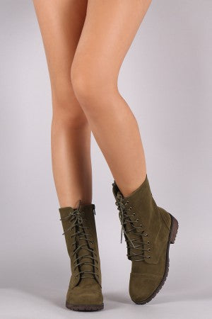 Suede Round Toe Combat Lace-Up Boots
