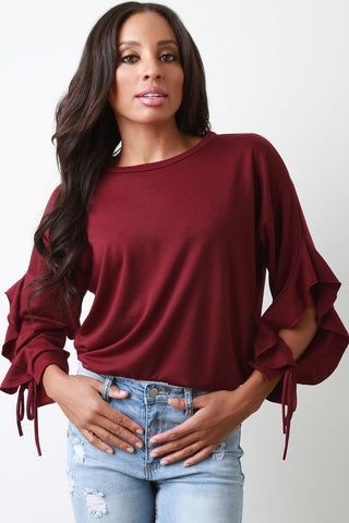 Soft Knit Ruffled Open Long Sleeve Top