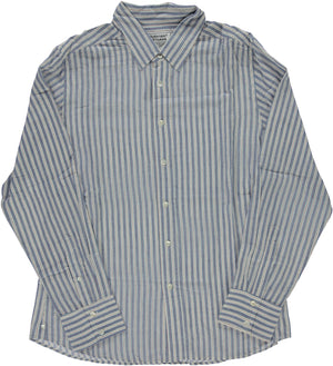 'The Amir' Long Sleeves Shirt in Blue Stripes Hand-loomed Fabric