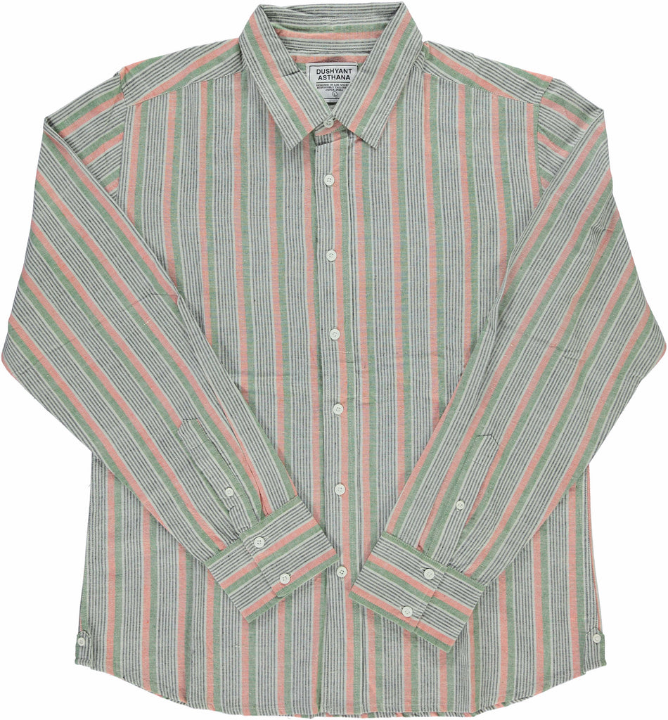 'The Amir' Long Sleeves Shirt in Green Stripes Hand-loomed Fabric
