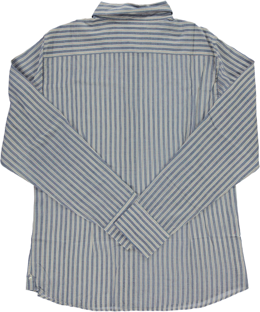 Blue-Red-Yellow Stripes Hand-Loomed 'Amir' Full-Sleeve Shirt