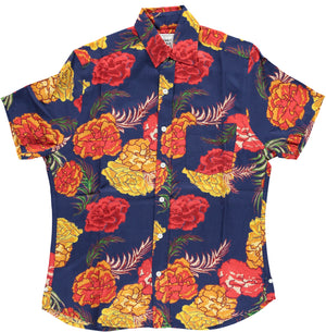 Hand-Printed 'The Folk' Short Sleeve Shirt in Large Navy Floral Print