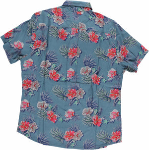 Hand-Printed 'The Folk' Short Sleeve Shirt in Large Blue Floral Print
