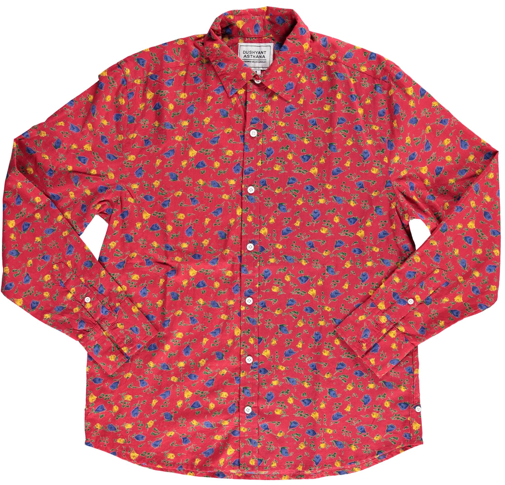 Hand-Printed 'The Barrington' Full Sleeve Shirt in Maroon Floral Print