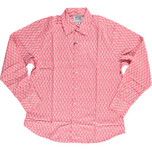 Hand-Printed 'The Barrington' Long Sleeves Shirt in Red Leaf Print