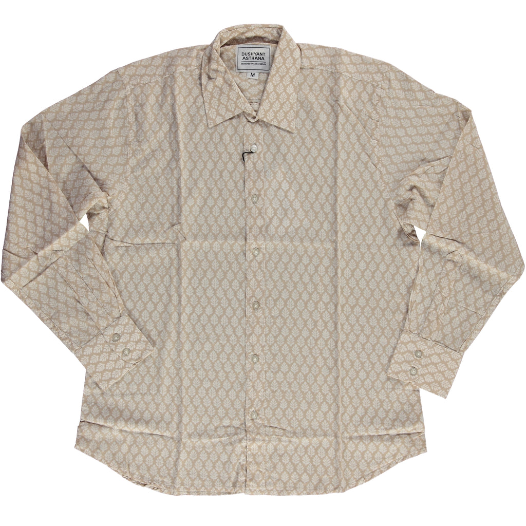 Hand-Printed 'The Barrington' Full Sleeve Shirt in Brown Leaf Print