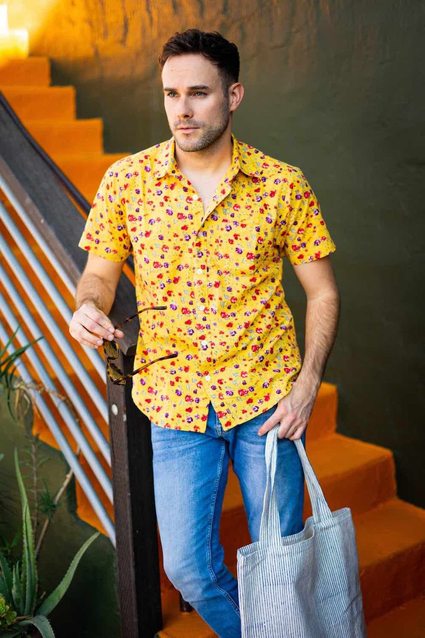 Hand-Printed 'The Folk' Short Sleeve Shirt in Yellow Floral Print