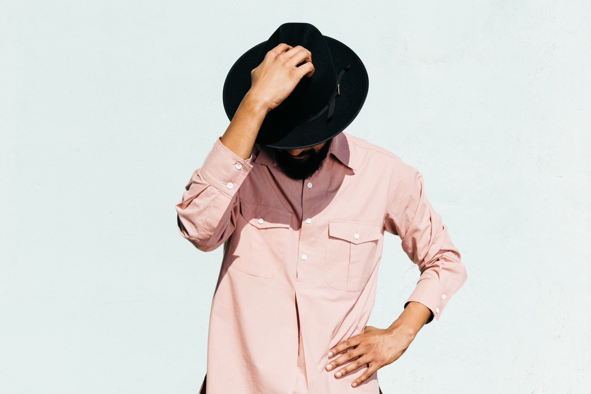 'The Kameez' Oversized Garment Dyed Shirt in Cameo Pink