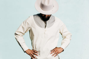 Oversized Garment Dyed Pop-Over 'Bombay' Shirt in Pale Khaki